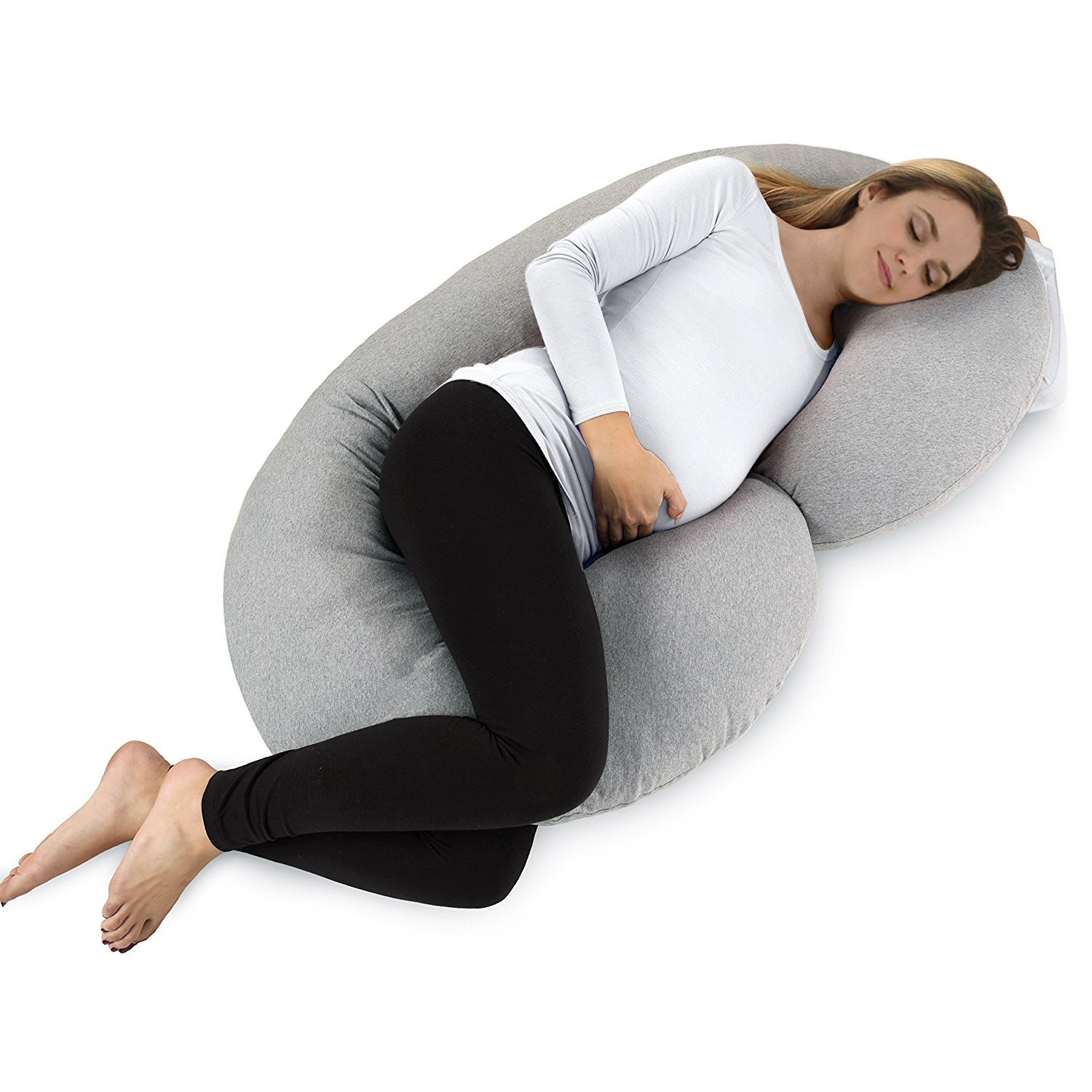 NiDream Bedding C Shaped Body Pillow - for Pregnant Women - Side Sleeping - Nursing - with Double Zipper - Removable Comfortable Jersey Cover - Grey