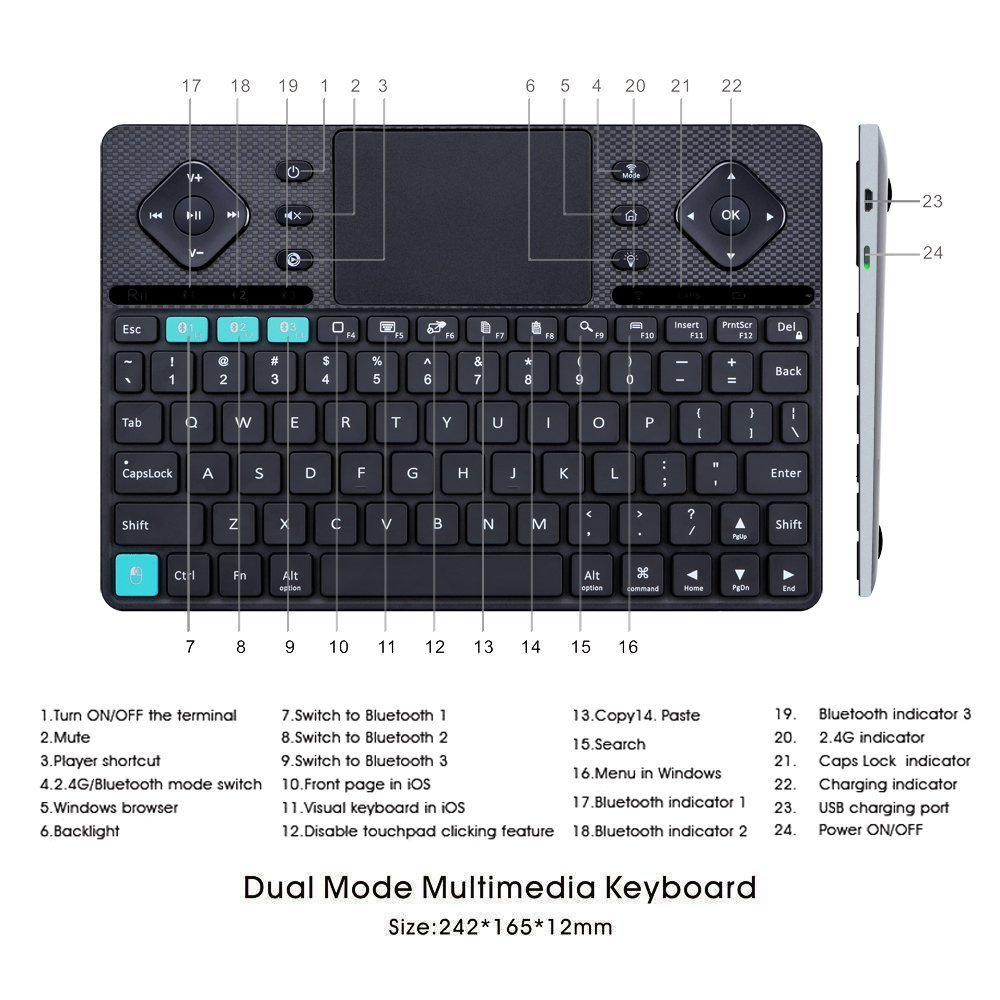 Rii (2018 New arrival) K16 Dual-mode Bluetooth &RF wireless Ultra Slim Rechargable Multimedia Backlit Keyboard With Touchpad Mouse And Aluminium Cover For PC,Tablets, Smart TV,Android TV Box,Windows by Rii (Image #5)