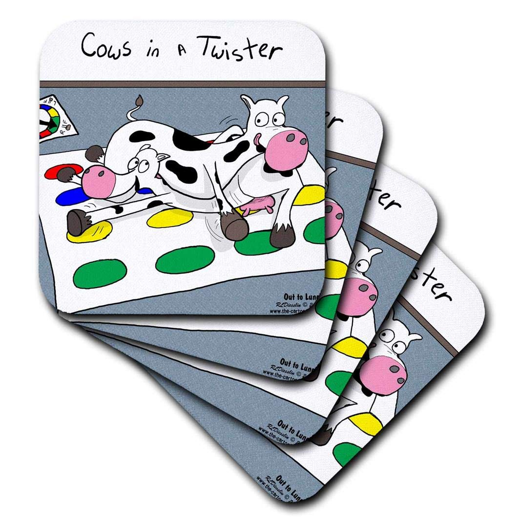 3dRose CST_4514_3 Cows in A Twister Ceramic Tile Coasters, (Set of 4) by 3dRose
