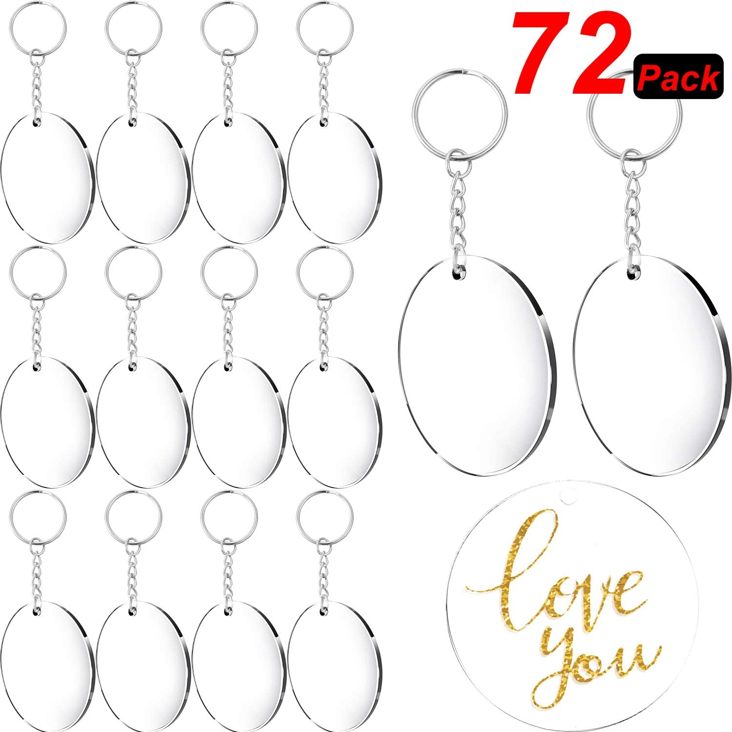 Acrylic Transparent Circle Discs 36 Pieces Circle Key Chains Clear Round Acrylic Keychain Blanks and Tassel Pendant Keyring for DIY Projects and Crafts