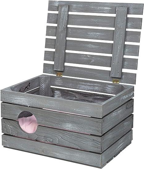 1 Bonita Caja de Madera Vintage como Cesta para Gatos, con Tapa ...