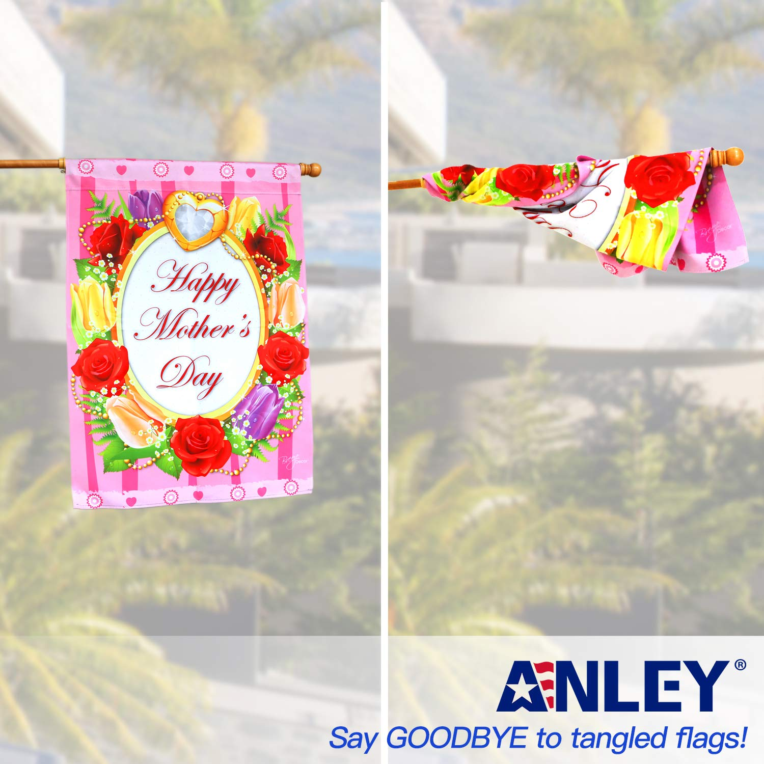 Anley 56'' Pine Wooden House Flag Pole - for Sleeve House Flags (28''x 40'') - Tangle Free Design, Rotating Rings and Anti-Wrap Tube by Anley (Image #4)