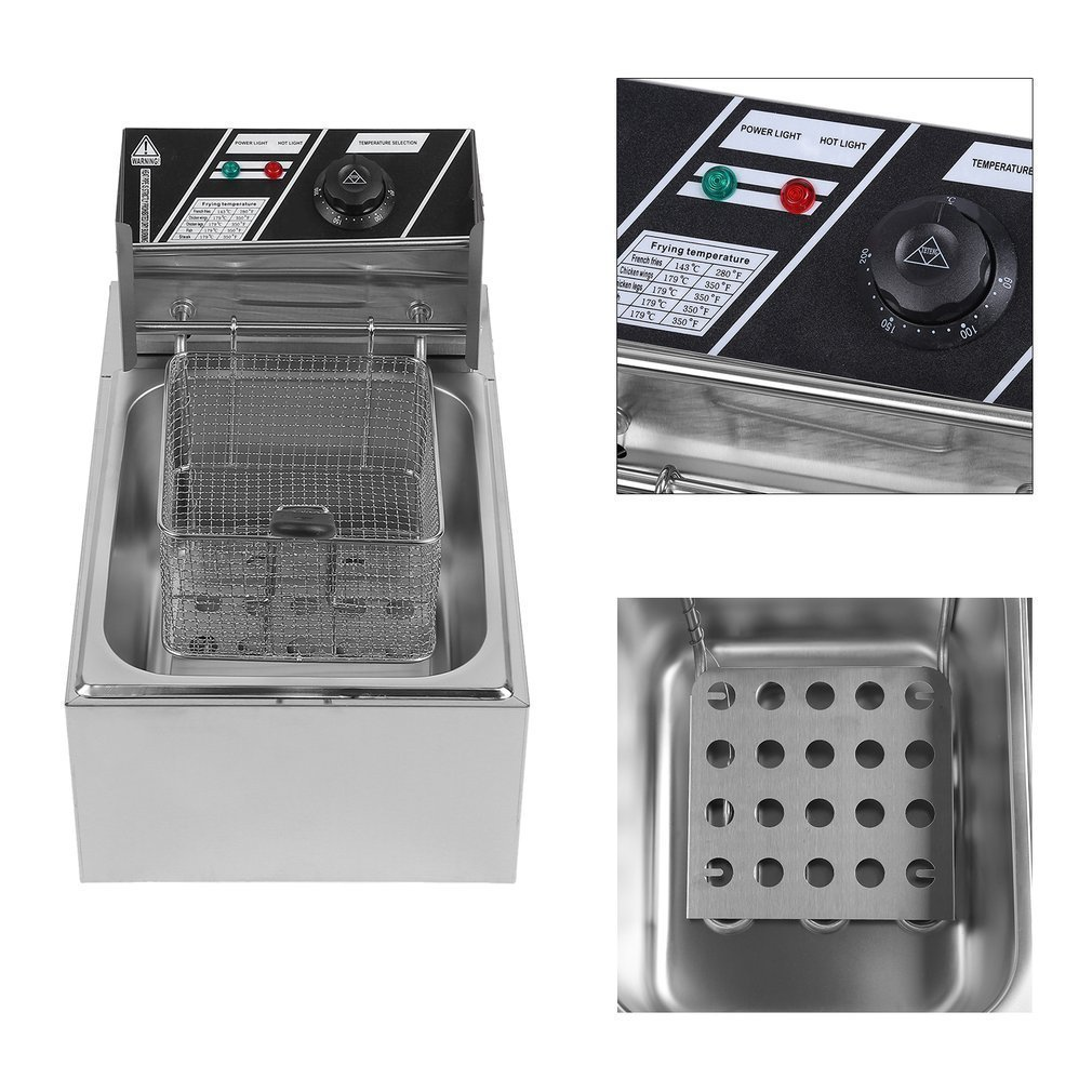 Belovedkai Electric Deep Fryer, 13L/26L Stainless Steel Commercial Electric Deep Fat Fryer Temperature Control Timing Fryer with Drain & Basket,Single Tank/Dual Tank (10L Single Basket) by Belovedkai (Image #5)