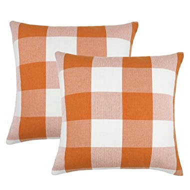 4TH Emotion Set of 2 Orange and White Buffalo Check Plaid Throw Pillow Covers Cushion Case Cotton Linen for Fall Farmhouse Home Decor, 16 x 16 Inches