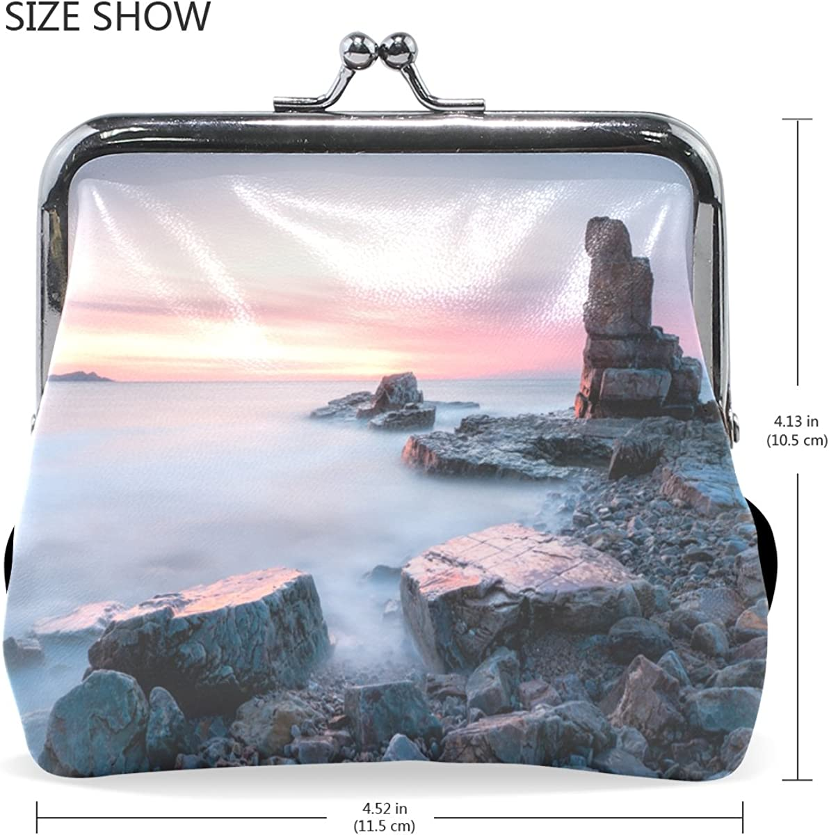 Ethel Ernest Amazing Seaside Sunset Stone Landscape Coin Wallets Mini Purse for Womens Girls