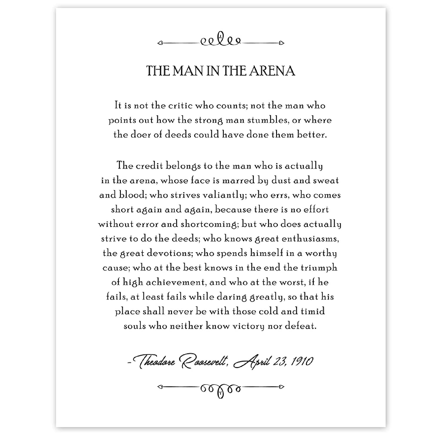 B&W Theodore Roosevelt, Man in the Arena, Book Quote Poster Prints, Set of 1 (11x14) Unframed Photo, Wall Art Decor Gifts Under 15 for Home, Office, School, College Student, Teacher, Literary Fan