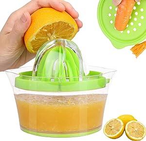 PUHE Hand Juicer Manual Squeezer Lemon Orange Citrus Lime Built-in Measuring Cup Press Anti-Slip Reamer Grater 12OZ, Green