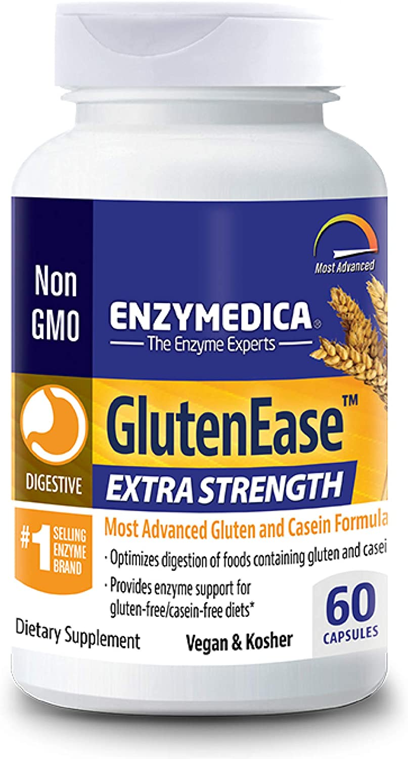 Enzymedica, GlutenEase Extra Strength, Digestive Aid for Gluten and Casein Digestion, Vegan, Non-GMO, 60 Capsules (FFP)