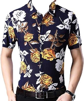 BingSai Camisa Hawaiana de Manga Corta para Hombre, Playera de Fiesta con Botones Amarillo Amarillo L: Amazon.es: Ropa y accesorios