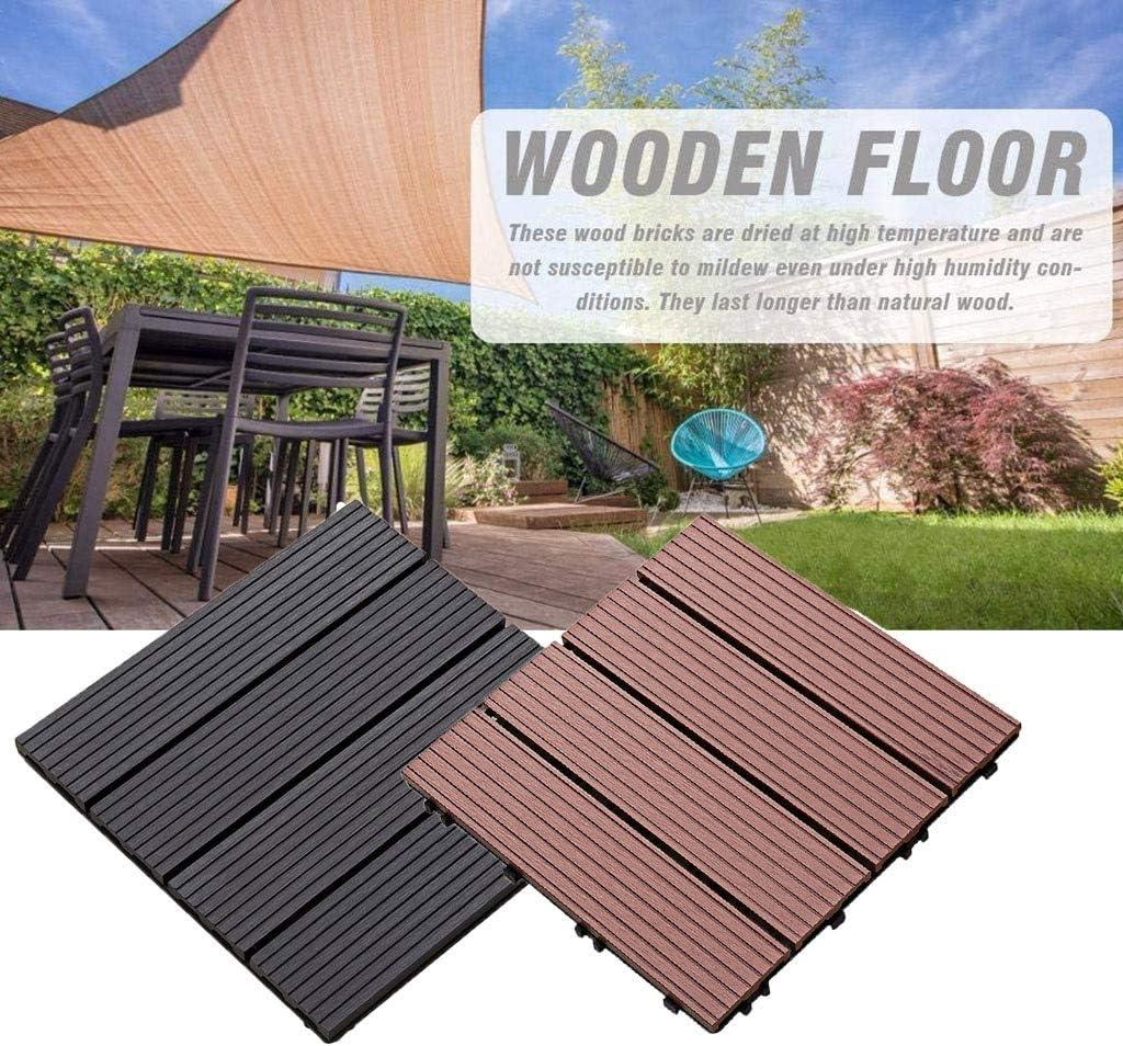 Baldosas del suelo del jardín de enclavamiento madera plástica antideslizante alfombra del piso de bricolaje hecho a sí mismo piso decoración de azulejos del piso del balcón pegatinas 1 pieza 30x30cm: Amazon.es: