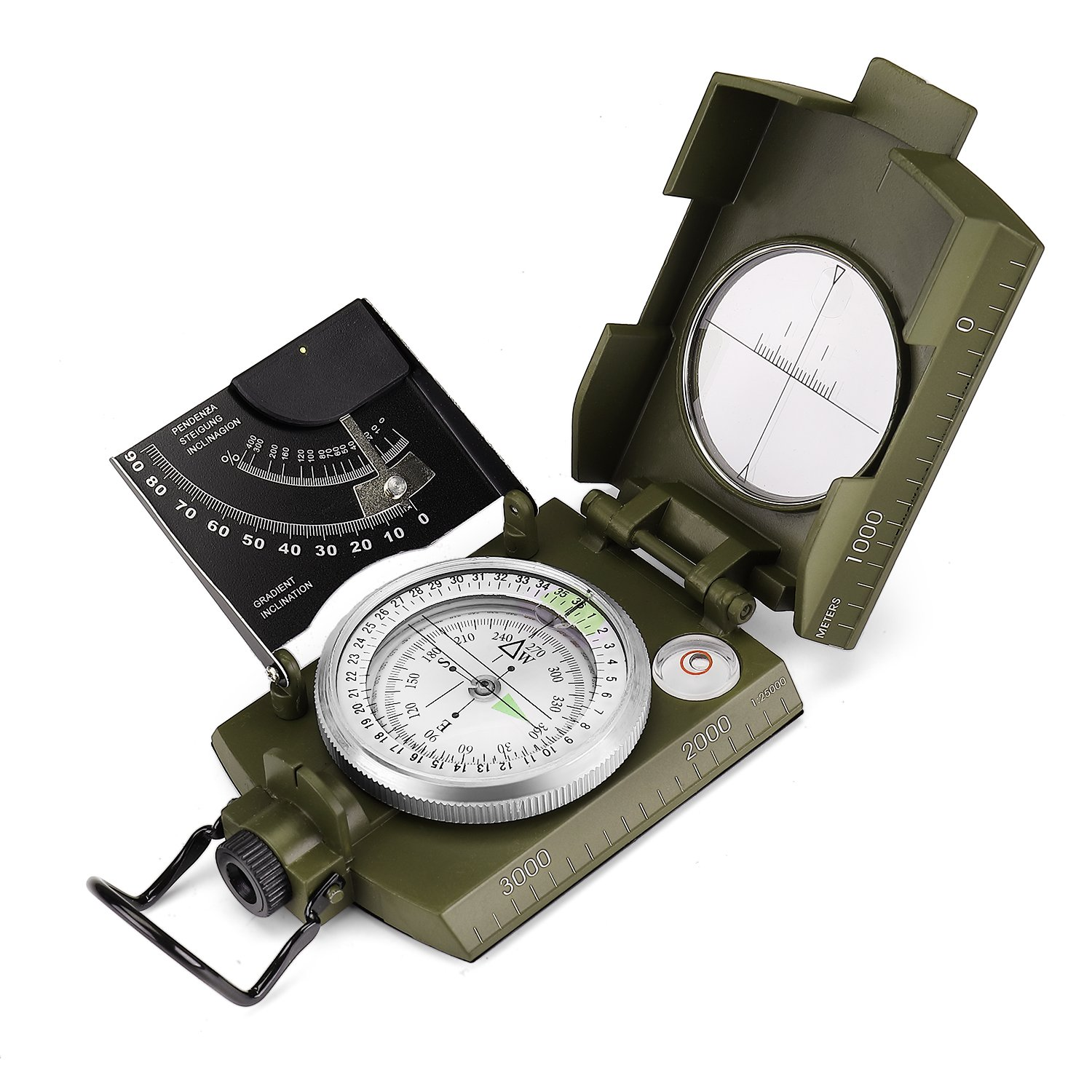 Flexzion Professional Multifunction Military Army Metal Sighting Compass Waterproof - Clinometer with Carrying Bag for Outdoor Navigation Camping Climbing Hunting Hiking Geology Adventure Travel Green
