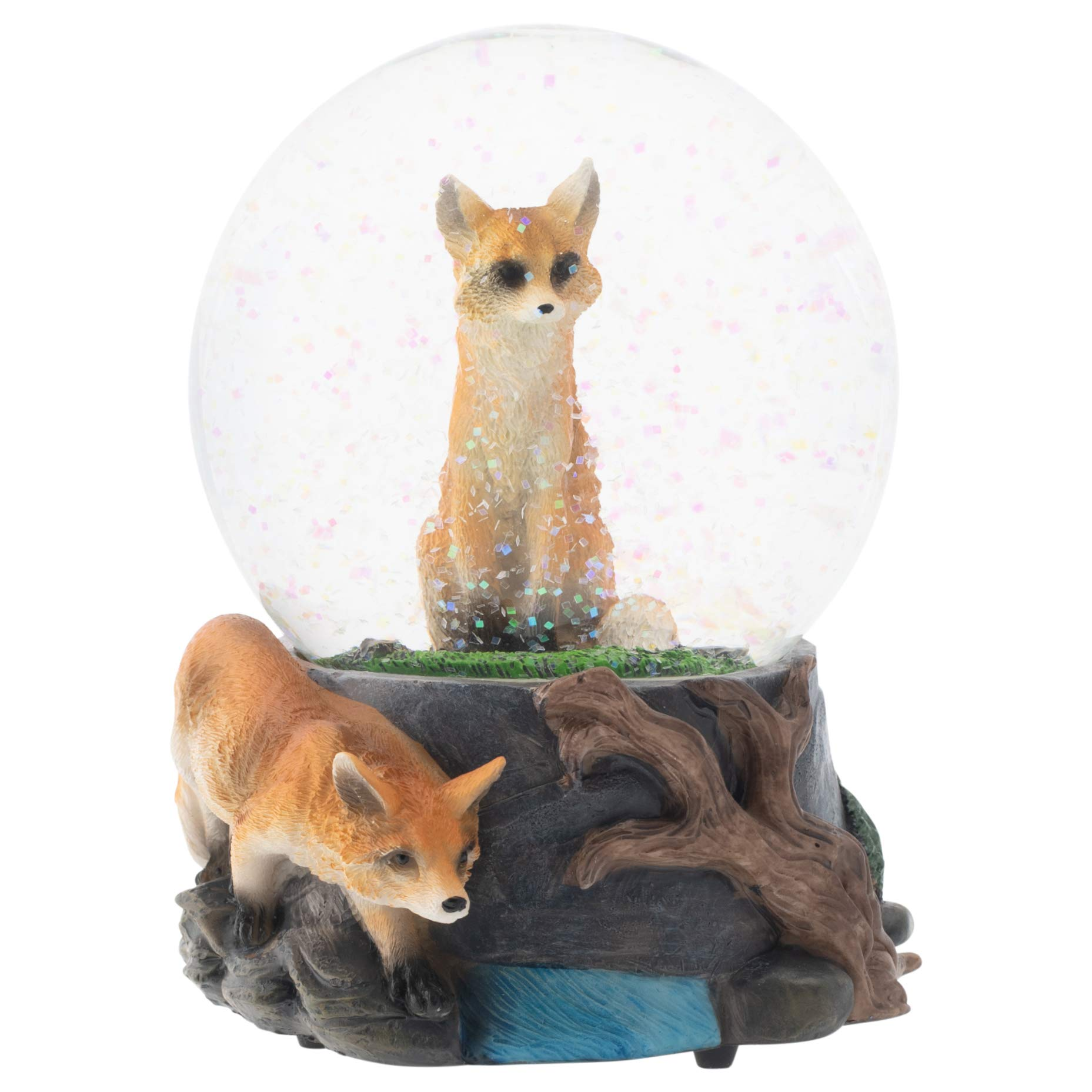 Elanze Designs Clever Fox Friends 100MM Musical Water Globe Plays Tune Born Free