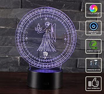 3D Illusion Lamp 12 Constellations LED Bedside Mood Night Light 7 Colors USB Operated Touch Lamp for Kids Girls Boys Teens Rooms Bedrooms Decoration ...