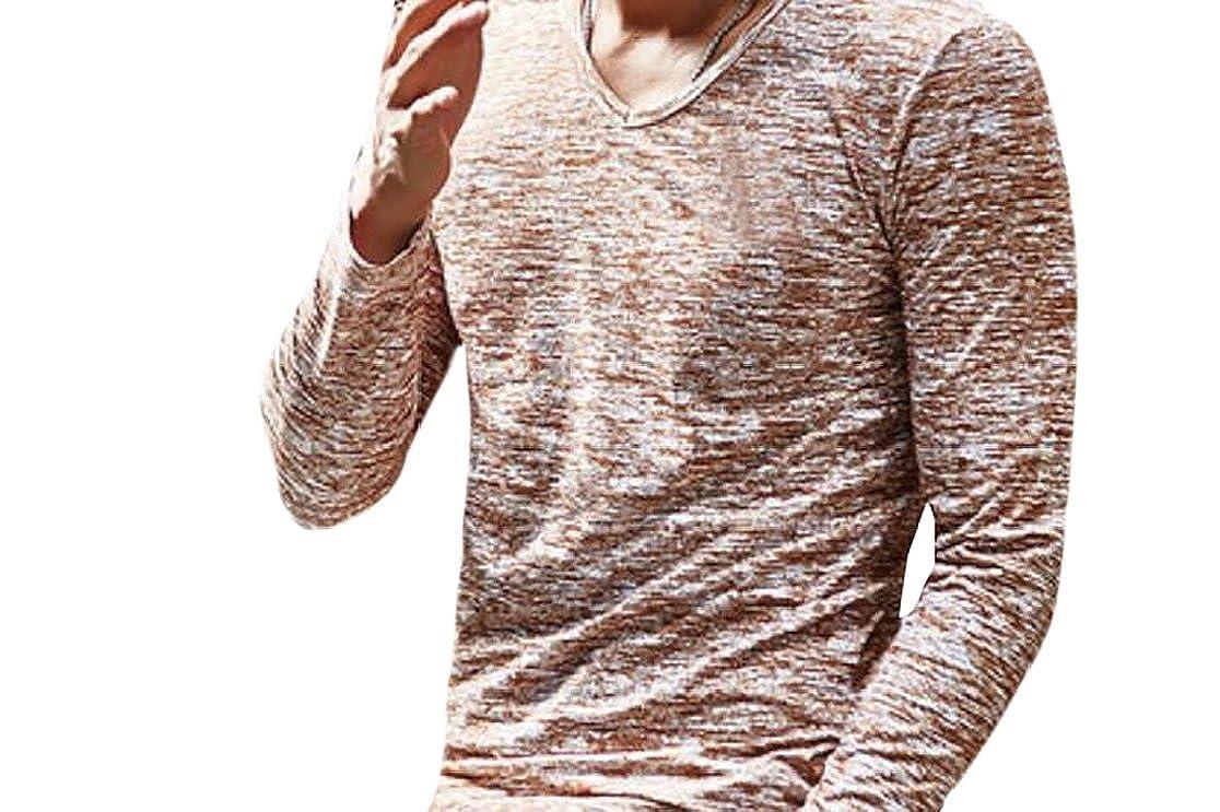 Joe Wenko Mens Pullover V-Neck Cozy Long Sleeve Casual T-Shirt Top