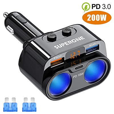 SUPERONE 200W 2-Socket Cigarette Lighter Splitter Power Adapter, USB C Car Charger with 18W Power Delivery 3.0 & Quick Charge 3.0 for iPhone 11/11 Pro/X/8/7, Samsung, Google Pixel and More: Automotive