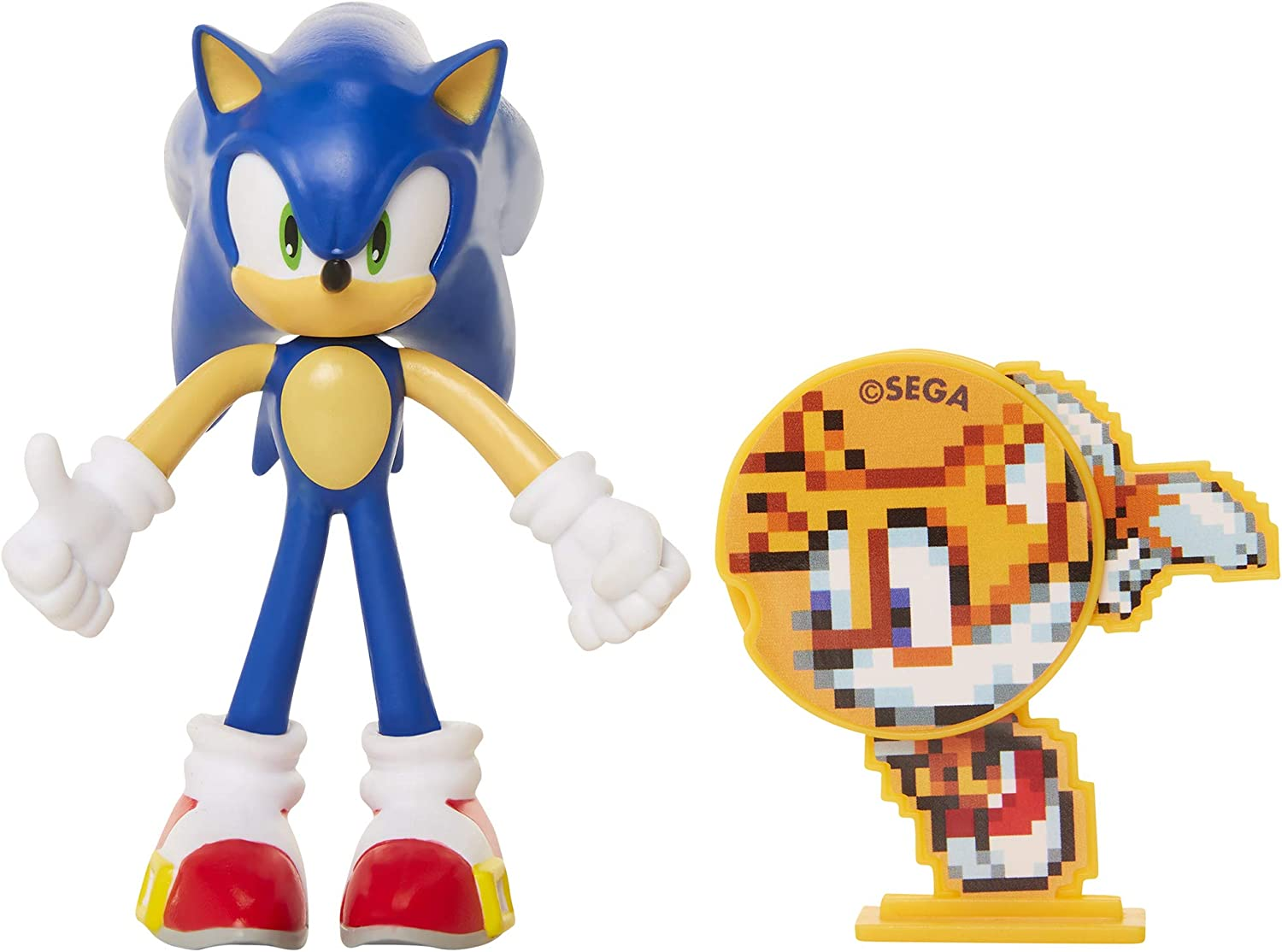 """Sonic The Hedgehog Collectible Sonic 4"""" Bendable Flexible Action Figure with Bendable Limbs & Spinable Friend Disk Accessory Perfect for Kids & Collectors Alike for Ages 3+"""