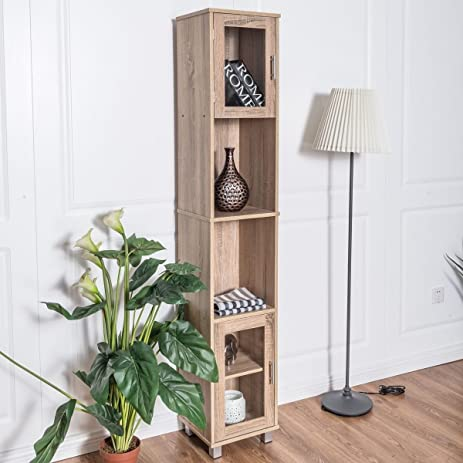 Light Oak Finish Slim Profile Tall Storage Tower Cabinet Bathroom Linen  Cupboard Storage Utility Furniture