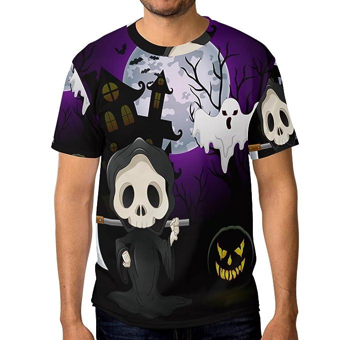 COOSUN Cráneo de Halloween s Ghost Mena y camisetas de manga corta camisas: Amazon.es: Ropa y accesorios