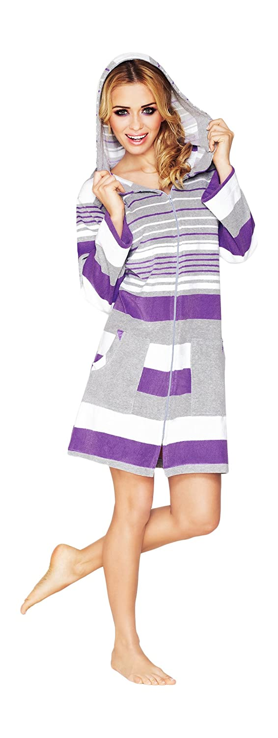 Women Luxury Soft Cotton Housecoat Dressing Gown Dress Style Bathrobe Zip Up with Hood