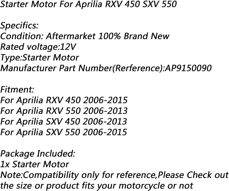 Elektromotor f/ür Aprilia RXV 450 2006 12 V 2013 SXV 450 2015 RXV 550 2006 Artudatech Motorrad-Elektro-Startermotor