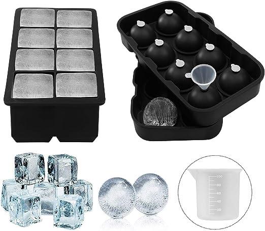 Purseek - Juego de 2 moldes de silicona para cubitos de hielo y esferas con taza medidora y embudo, reutilizables y sin BPA, de plástico: Amazon.es: Hogar
