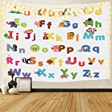 Colourful Animal Alphabet ABC Kids Wall Tapestry for Kids Nursery Bedroom Living Room, 60 x 50, Polyester