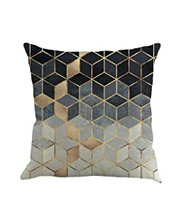 Vibola Abstract Geometry Painting Linen Vintage Home Decor Pillow Case Sofa Waist Throw Cushion Cover Home Decor (A)