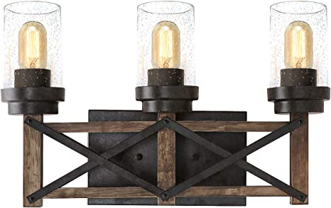Eumyviv Industrial 3 Lights Bathroom Vanity Light With Seeded Shades 18 9 L Distressed Wood Farmhouse Rustic Wall Sconces Vintage Edison Wall Lamp Light Fixture Black And Brown W0070 Amazon Com