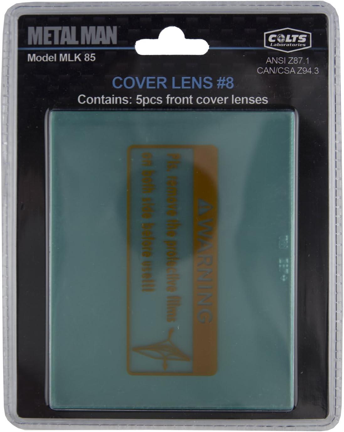 MLK85 Metal Man Front Cover Lens Package #8-5 pack protective front cover lens for Metal Man Brand 8000 series welding helmets