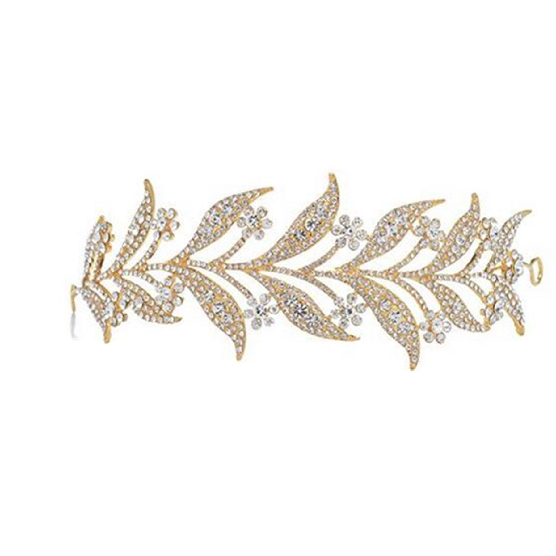 Wiipu Leaves Rhinestone Crystal Wedding Headband Bridal Tiara Crown(N433) (Golden-tone)