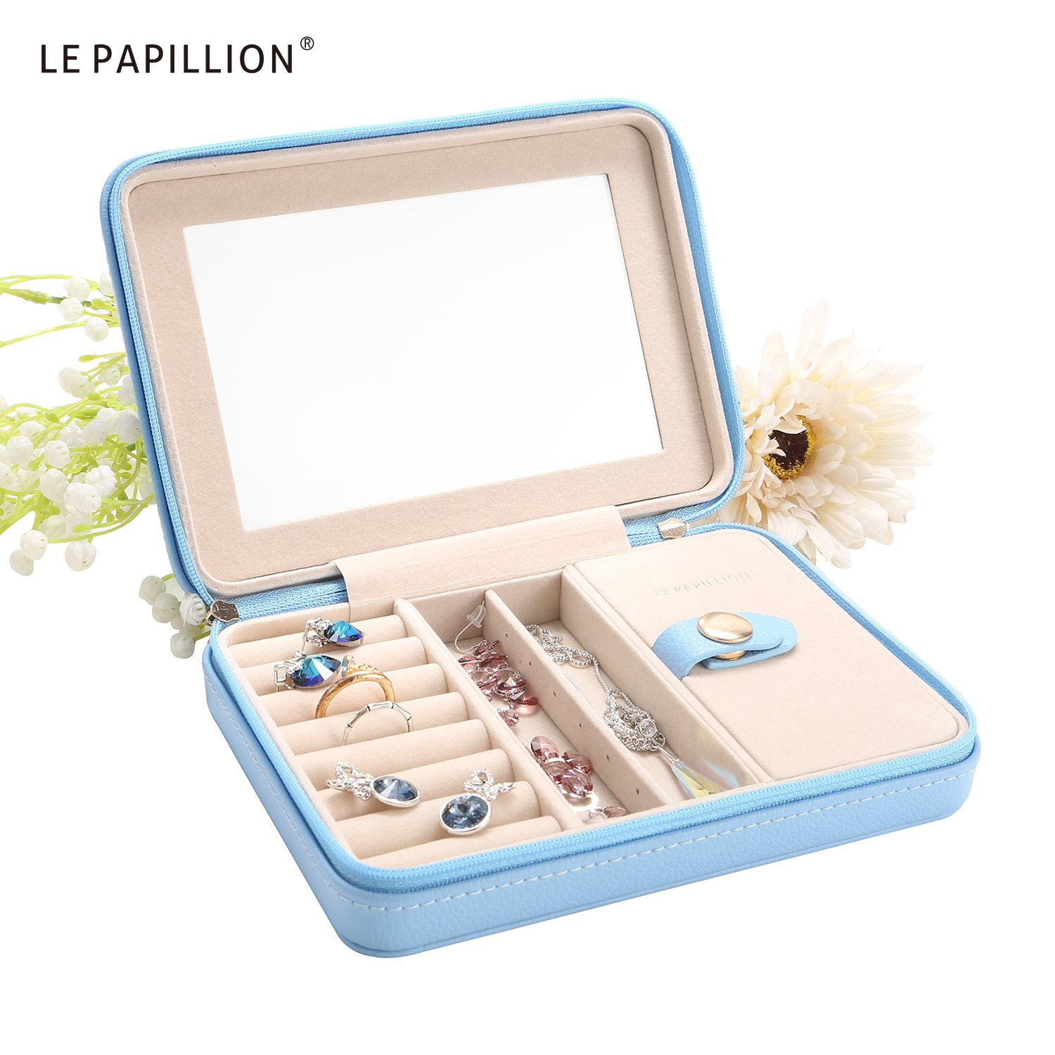 LE Papillion Small Jewelry Box Travel Jewelry Box Jewelry Travel Case Jewelry Organizer with Large Mirror, Gifts for Women, Great Gift Idea(Blue) by LE PAPILLION JEWELRY (Image #2)