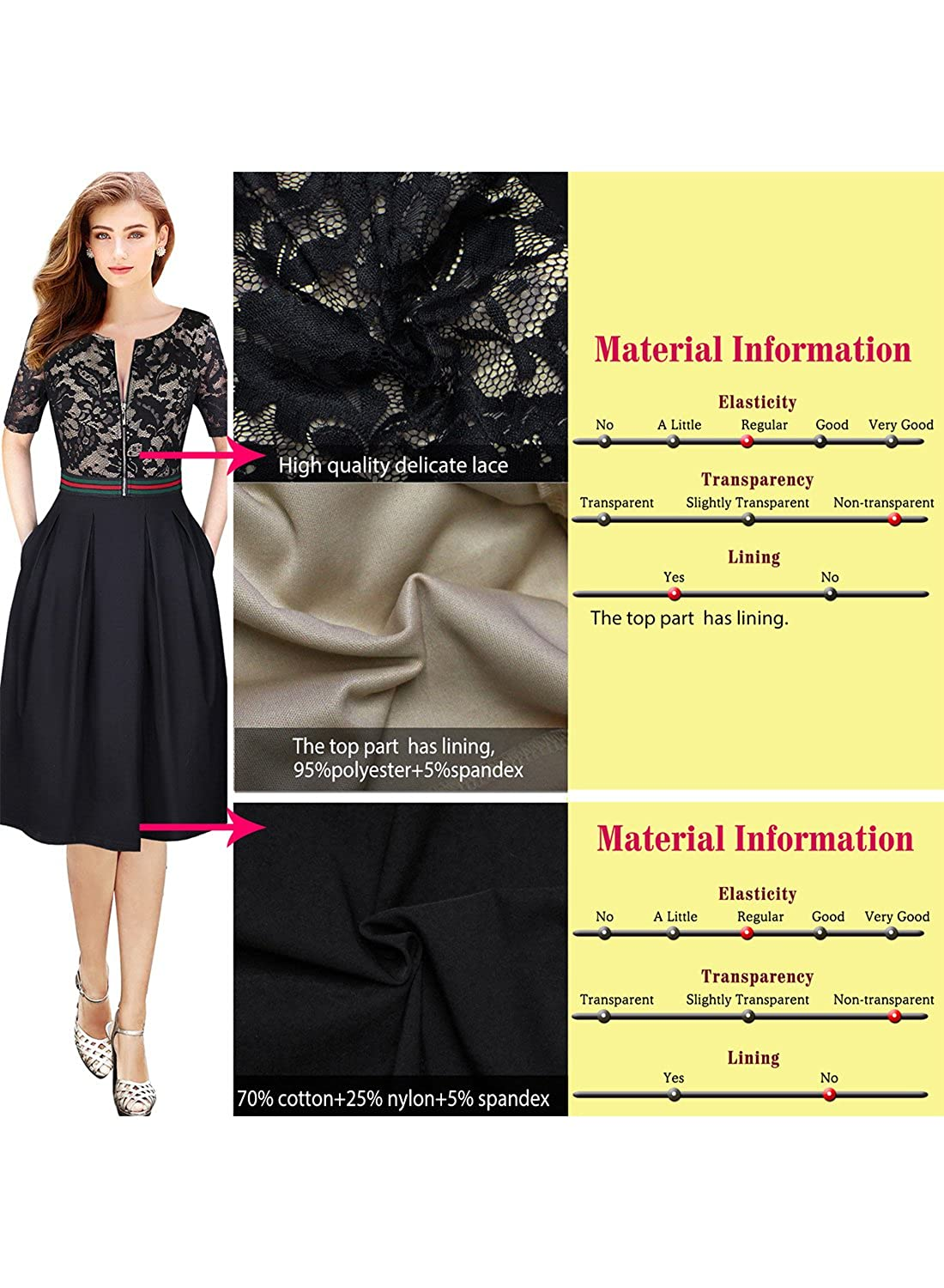 52db1457393a VFSHOW Womens Floral Lace Print Zip Up Pocket Cocktail Party A-Line Dress  at Amazon Women's Clothing store: