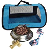 Perfect Petzzz Blue Tote For Plush Breathing Pets with Dog Food, Treats, and Chew Toy