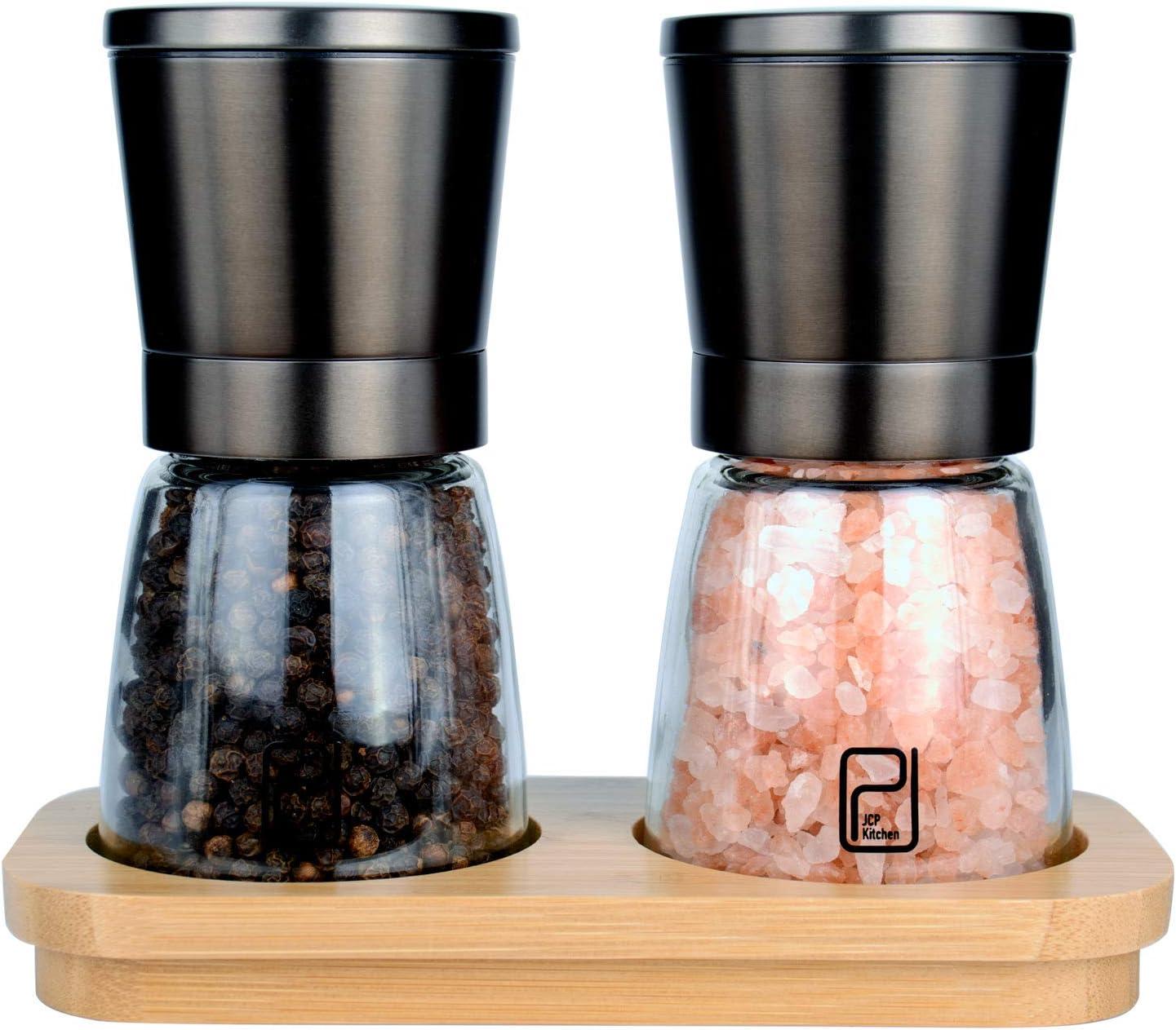 Premium Stainless Steel Salt and Pepper Shakers with Ceramic Spice Grinder Mill for Adjustable Coarseness I AM WAY Professional Salt and Pepper Grinder Set