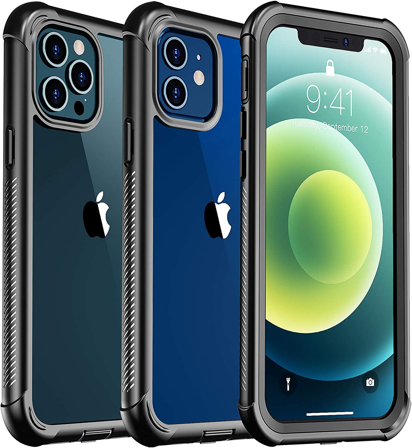 Temdan Bumper Clear Case Designed for iPhone 12 Case, for iPhone 12 Pro Case,Full Body with Built-in Screen Protector Rugged Shockproof Dropproof Cover for iPhone 12, for iPhone 12 Pro 6.1 inch(2020)