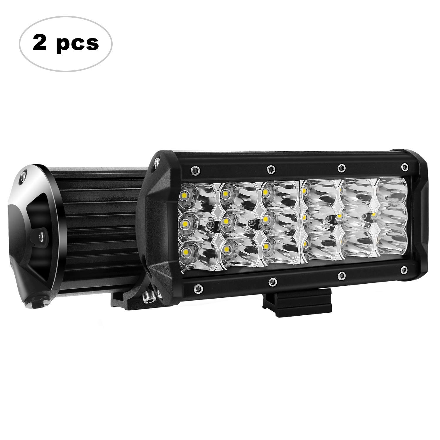 BEEYEO Led Light Bar 7 Inch 96W Flood Beam Light Triple Row Work Light Offroad Lighting 12V//24V for Jeep Trucks ATV Buggy UTV SUV Boat IP68 Waterproof Pack of 2 pcs /…