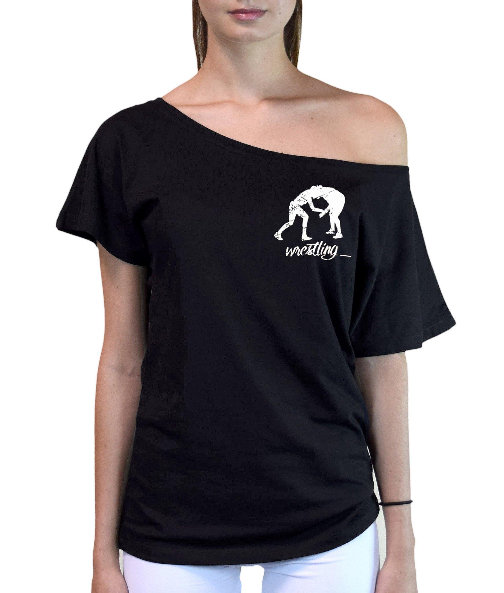 Junior's MMA Wrestling Emblem Off-Shoulder T-Shirt Large Black