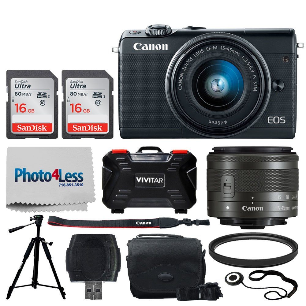 Canon EOS M100 Mirrorless Digital Camera (Black) + EF-M 15-45mm f/3.5-6.3 is STM Lens (Graphite) + 32GB Memory Card + 49mm UV Filter + Quality Tripod + Memory Card Holder (24 Slots) + Cleaning Cloth by Photo4Less