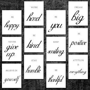 12 Pieces Inspirational Wall Art Motivational Posters Positive Quotes Wall Decor Unframed Encouragement Saying Art Painting for Living Room Bedroom and Office Wall Decor, 8 x 10 Inch