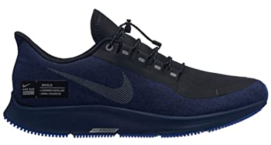 NIKE Air Zoom Pegasus 35 Shield Mens Running Shoe Black/Metallic Silver-Blue Void