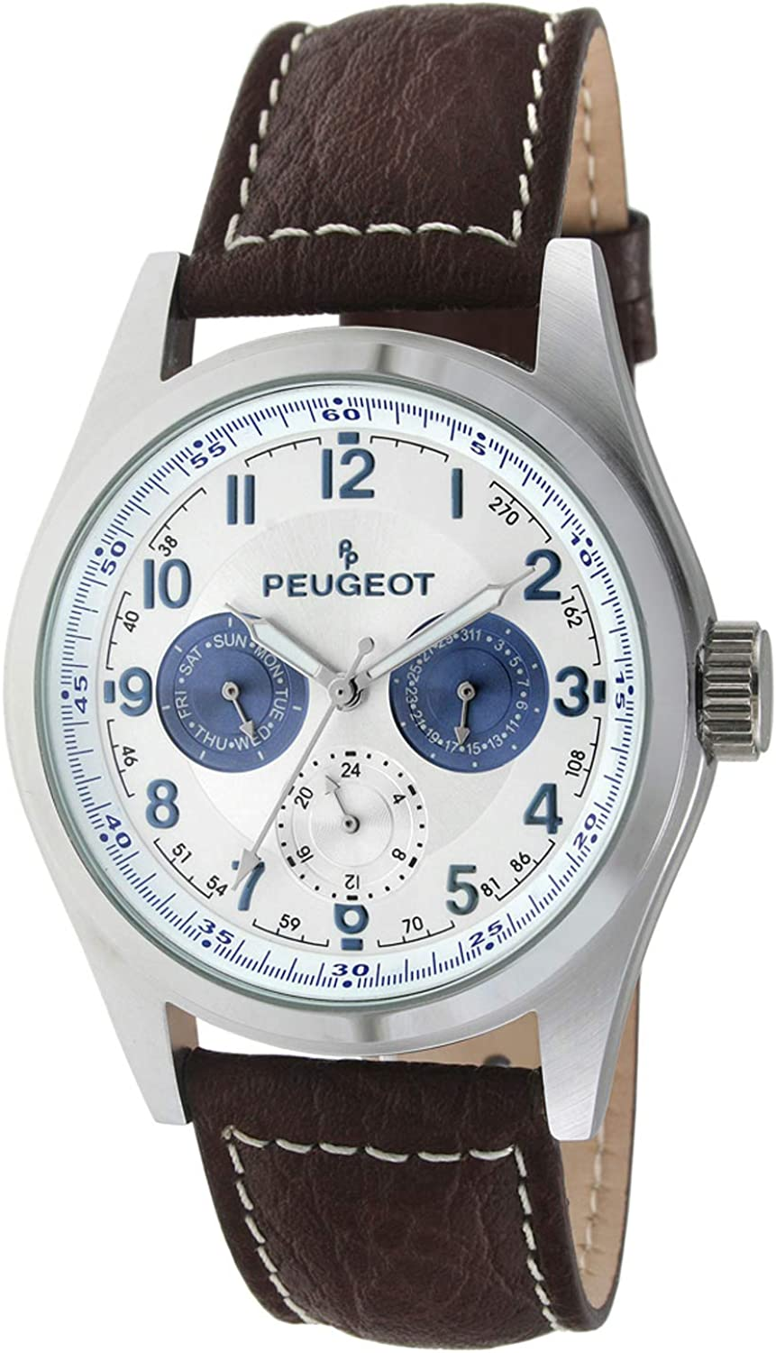 Peugeot Men's Multi-Function Chronograph Quartz Wrist Watch with Water Resistant Stainless Steel Case