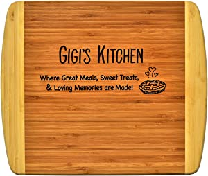GIGI GIFT ~ Engraved 2-Tone Bamboo Cutting Board ~ 2-Sided Kitchen Design Main Side for Decor Reverse Side for Usage Grandma Birthday Mother's Day Christmas Gift Best GiGi Ever Xmas (11 1/2 x 13 1/2)