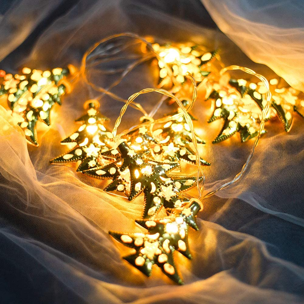 ROUENOK LED String Lights, Set of 2 Battery Operated String Lights 4.9ft 10Leds Warm White Golden Metal Trees String Lights for Christmas Bedroom Wedding Party Garden Patio Indoor Decor
