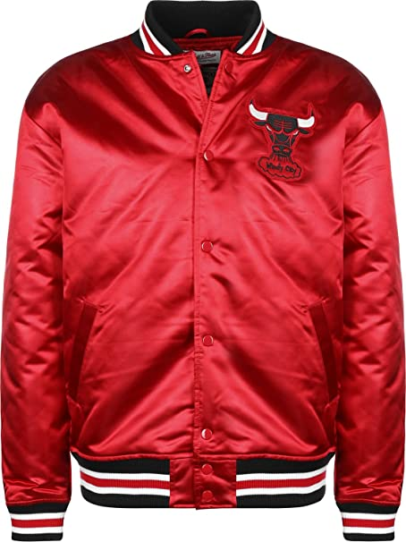 Mitchell & Ness Chicago Bulls Satin Chaqueta universitaria red: Amazon.es: Ropa y accesorios