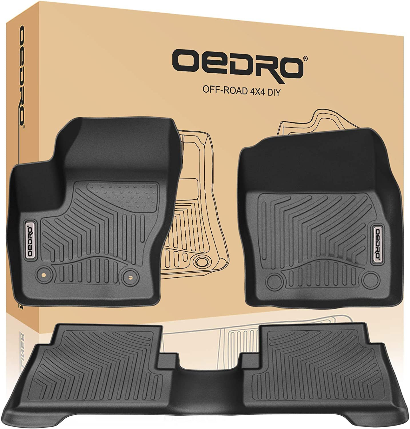 Amazon Com Oedro Floor Mats Compatible For 2015 2019 Ford Escape Unique Black Tpe All Weather Guard Includes 1st And 2nd Row Front Rear Full Set Liners Automotive