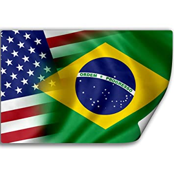 Sticker decal with flag of brazil and usa brazilian
