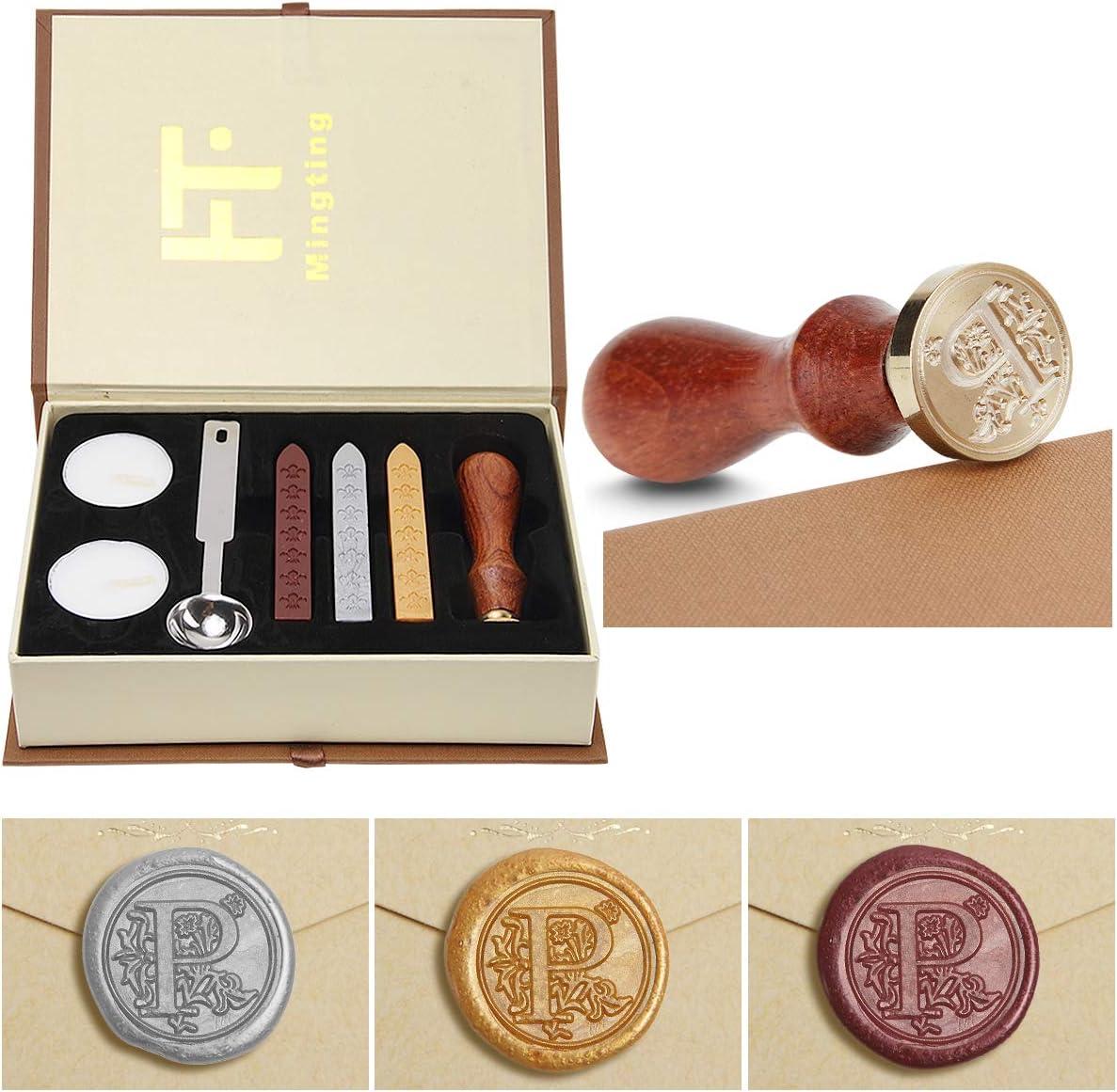 Siegelwachs-Set Siegelstempel mit Wachs PUQU Geschenk-Box Vintage-Initialen A bis Z