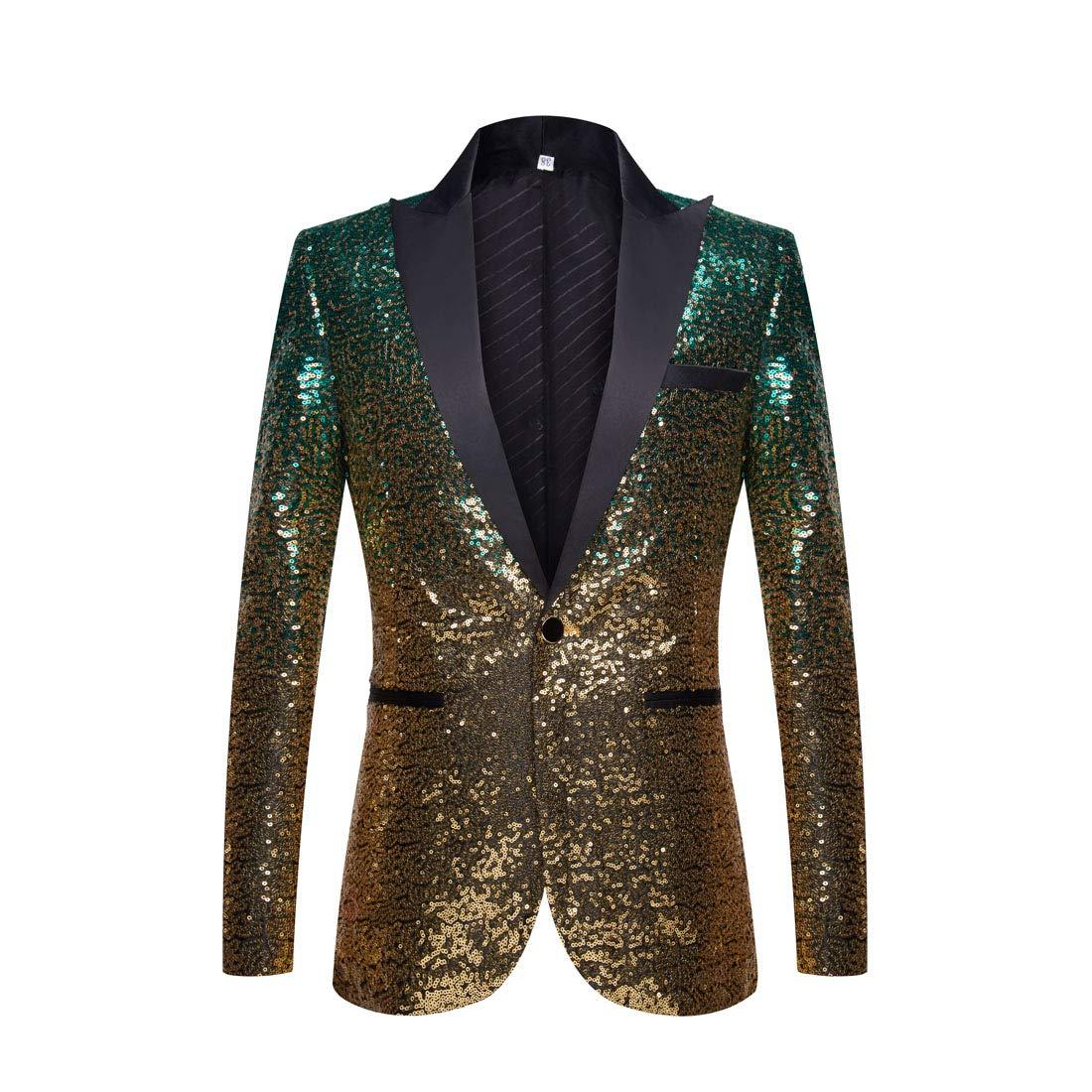 PYJTRL Men Fashion Gradual Change Color Sequins Suit Jacket (Green Gold, US 44R) by PYJTRL