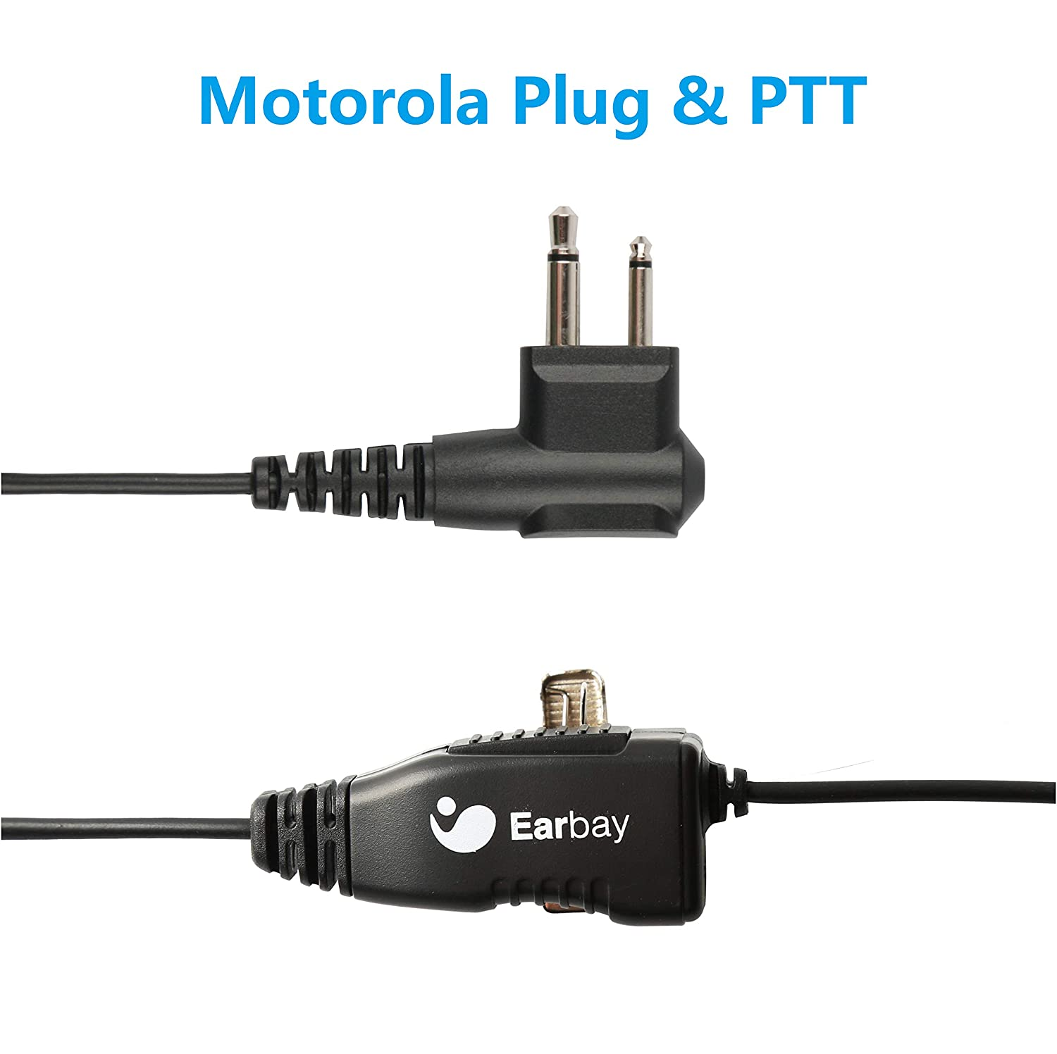 Earbay Throat Mic Microphone Covert Acoustic Tube Earpiece with PTT for Motorola 2 Way Radio Kensing TWR-107B MOT