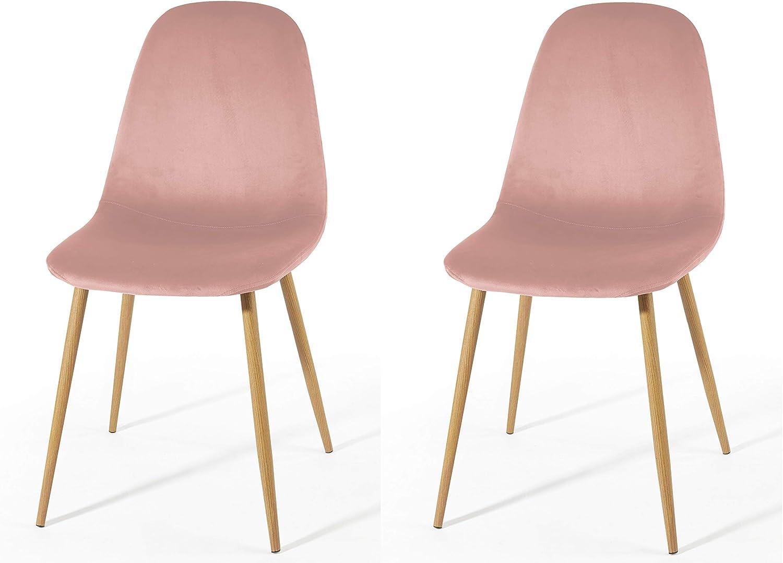 Urban Shop Velvet Dining Chairs, Set of 2, Blush